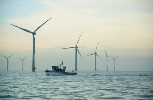 Thanet Offshore Wind Farm Turbine and Boat